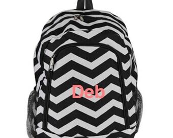 Chevron Black and White Bookbag Backpack