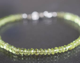 Peridot bracelet ,AAA Quality,August birth gemstone,genuine natural gemstone, bead Bracelet,Genuine Green Peridot, silver gemstone bracelet