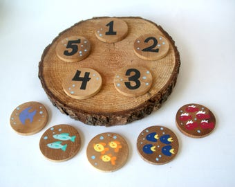 Counting Game, Busy bag, Montessori Toy, Wooden Discs, Montessori, Wooden Toy, Fish Toy, Educational Toy, Math Toy, Waldorf