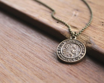 Rayna St Christopher Brass Pendant Necklace - Catholic Jewelry for Men and Women and Teens - Patron Saint of Travelers Police Truck Drivers