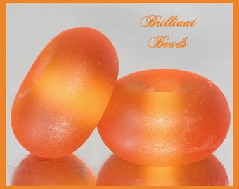 """Frosted Amber Orange...""""Sea Glass"""" Spacer Bead Pair...Handmade Lampwork Beads SRA, Made To Order"""