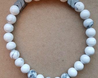 Howlite aromatherapy bracelet with white lava stone and hematite chevron 6mm