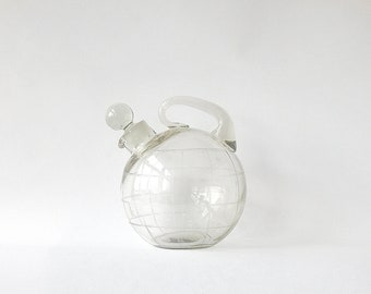 Vintage Glass Decanter Cocktail Clear Art Deco Czech Bohemian Etched Dots Blown Cognac Barware Drink Cocktails Decanter WhiskeyFREE SHIPPING
