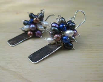 Insouciant Studios Fireworks Earrings  Pearl & Recycled Sterling Silver