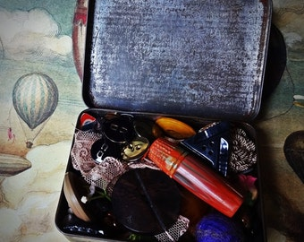 Vintage Haberdashery Sewing Memorabilia, Vintage Ogdens Tobacco Tin, Vintage notions Thimbles, Sewing Box. Vintage Seamstress Curiosity Box