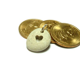LOVE Stone Charm Pebble Carved Heart Rock Jewelry Pendant Hand Drilled Beach Pebble River Rock Necklace Dangle