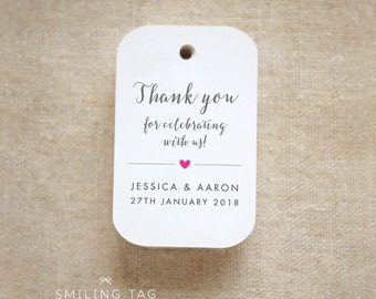 Thank you for celebrating with us Wedding Personalized Gift Tags Wedding Favor Tags Thank you tags - Set of 24 (Item code: J635)