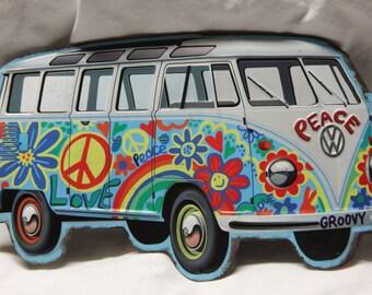 Metal VW Hippie van metal tin sign