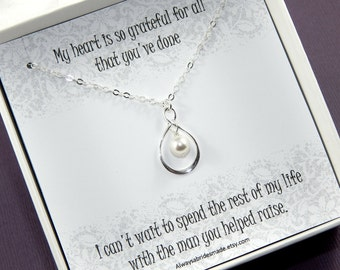 Step Mother of the Groom Necklace Gift, Mother Of The Groom Necklace, Mother in Law Thank You Gift, Mother in Law Necklace, Pearl Necklace