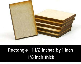 Unfinished Wood Rectangle - 1-1/2 tall by 1 inch wide and 1/8 inch thick with 1 2mm hole (RTSQ04h1)