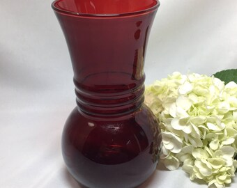 Royal Ruby Red Vase by Anchor Hocking