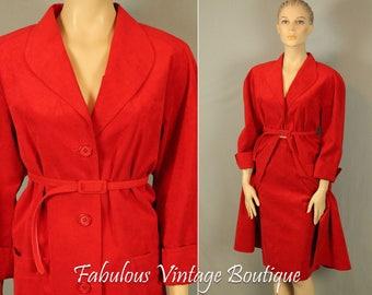 Vtg NAT KAPLAN Couture Ultrasuede Washable 2 Piece Suit BLAZER Jacket Pencil Skirt M