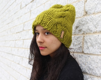 Women's winter knit hat, Cable knit hat - The Kyoto- Gift for her, Green hat, Wool knit, Gift for her