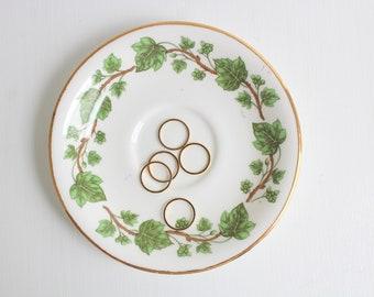 Vintage Ring Dish, Green Ring Dish, Ivy Ring Dish, Floral Ring Dish, Flower Ring Dish, Trinket Dish, Ring Dish, Jewelry Dish, Green & White
