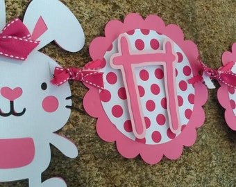 Bunny Birthday Banner. Bunny Baby Shower Banner. Bunny Decorations. Bunny Birthday Decorations. Girl's Birthday Banner. First Birthday.