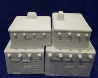 Was 60.00 now 30.00 Ceramic 4 piece Southwest Cannister Set  DIY Unfinished, Cookie Jars, catch all, planters, Candy Jars, etc.