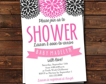Baby Shower Invitation - Baby Sprinkle Invitation - Shower with Love - Black and Pink Baby Shower Invitation