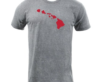 Distressed Hawaii State Shape - Athletic Grey