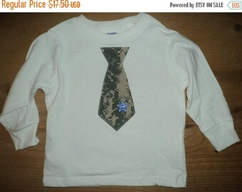 Army ACU Tie Shirt or Baby Bodysuit With Blue Star Button Accent
