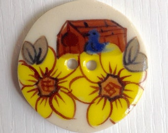 Hand-Painted Porcelain Button, 1 1/4 Inch Round, Two Hole, White and Yellow, Barn & Sunflowers