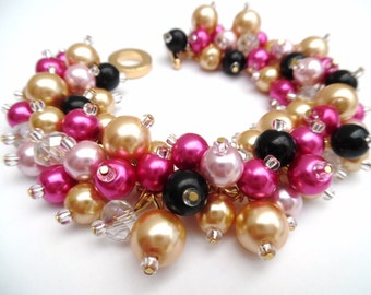 Hot Pink Gold and Black Pearl Bracelet, Bridesmaid Jewelry, Cluster Bracelet, Beaded Bracelet, Pink Wedding Jewelry, Bridesmaids Bracelets