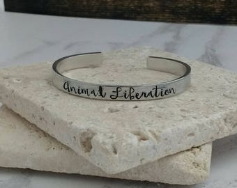 Animal liberation vegan bracelet - adjustable - handstamped - aluminium, copper, brass or sterling silver