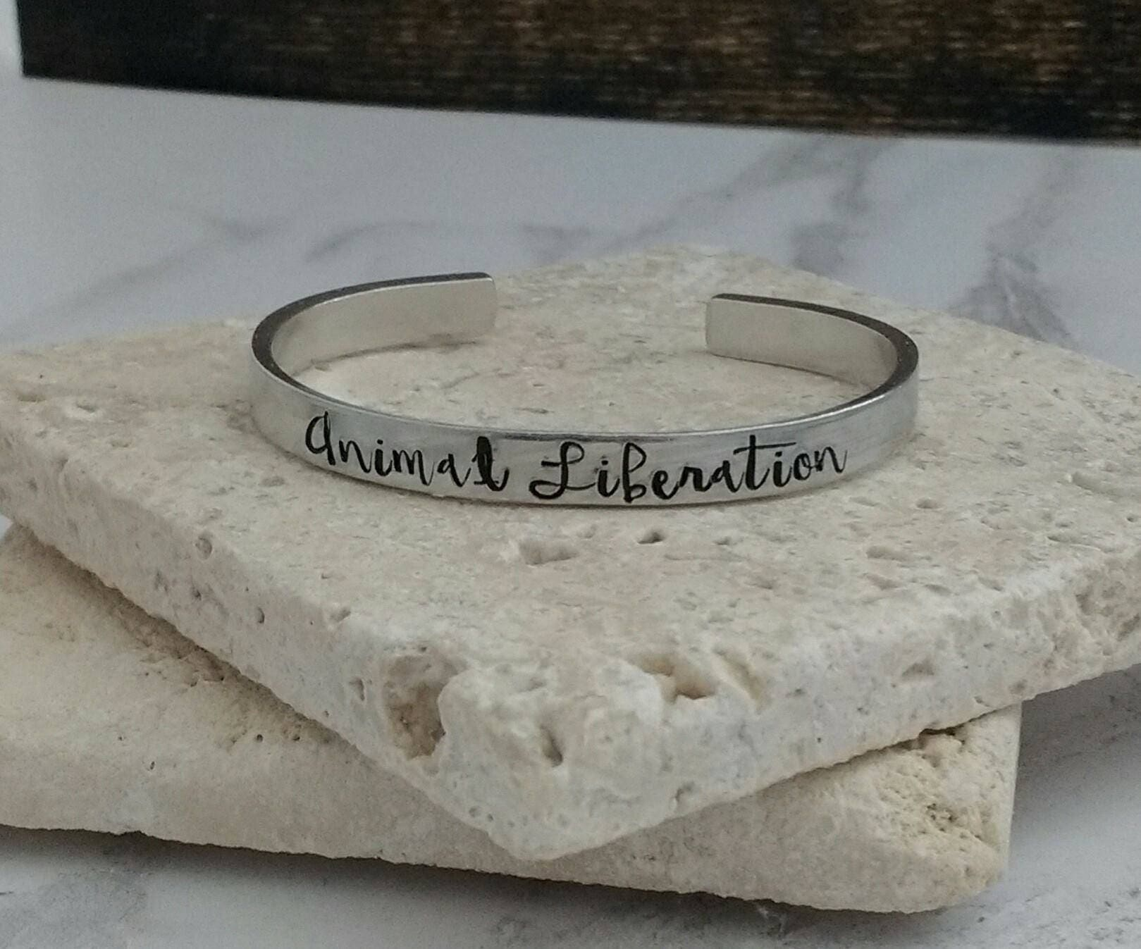 Animal liberation vegan bracelet - adjustable - handstamped - aluminium, copper, brass or sterling silver