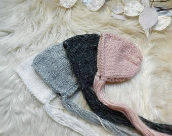 White Newborn bonnet. Blush pink bonnet. Charcoal bonnet.Red Newborn Knitted bonnet. Girls bonnet. Boys red bonnet .RTS.