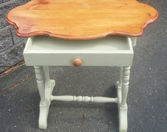 Vintage Pale Green Painted Spindle Leg Table With Drawer and Natural Top
