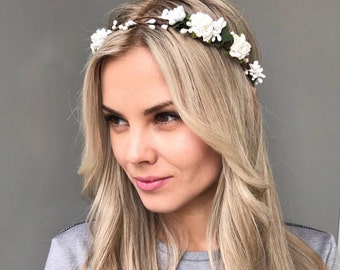 Woodland Crown Bridal Flower Crown Wedding hair accessories Floral Headband Wedding flower headpiece White Flower Crown bridal headpiece