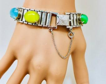 Moonglow Vintage verre Cabochon Sarah Coventry Bracelet manchette bracelet Pastels chaîne livre moderne chaîne maillons fantaisie fermoir de sécurité