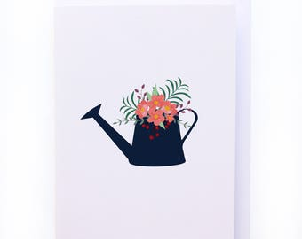 Floral Watering Can Illustration design greeting card - Blank