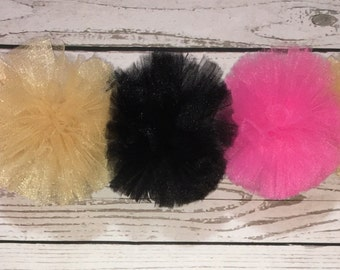 Tulle Pom Pom Garland- Pink Gold and Black Tulle Garland, Pom Pom Party Decor, Party Garland, Pink Black and Gold Party Garland, Photo Prop