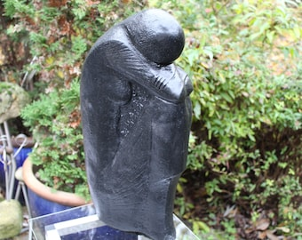 "Abstract woman ""The Thinker"" Steinguss sculpture 03inch Frost Black Edition sculpture Concrete garden Pierre Reconstituée Hormigón Betoni"