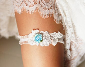 Bridal Garter Wedding Garter Ivory Garter Belt - Something Blue Garter Bridal Shower Gift Wedding Gift - Prom Garter