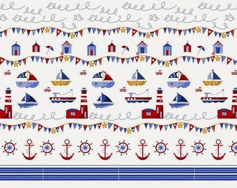 Cotton Fabric, Printed fabric, Quilting Fabric,Ships Fabric,Boat, Sea  Fabric , Fabric by the Yard-Half Yard