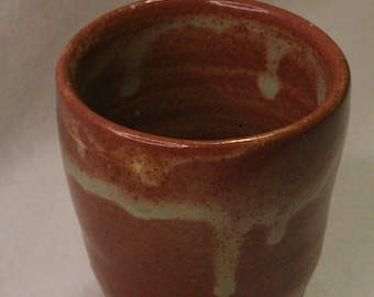Ceramic Dripping Green and Brown Cup