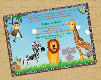 Jungle Animal Safari Baby Shower  Invitation, Boy Baby Shower Invitation, Baby Boy, It's A Boy, Safari Invitation - Printable DIY