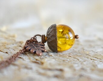 Baltic Amber and Copper Acorn Necklace | Cute Nature Acorn Charm Necklace | Gemstone Amber Acorn Necklace | Woodland Acorn | Nature Jewelry