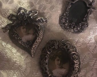 Vintage Antique Three Anisi Soit Nous Picture/Photo Frame Brooches Victorian/French Style