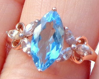 Solid 10K Rose Gold, Marquise Shape, Blue Topaz Ring, Natural Zircon, Engagement, Wedding, Promise Ring
