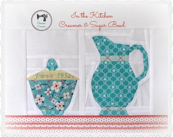 In the Kitchen - Creamer & Sugar Bowl, Paper Piecing Pattern