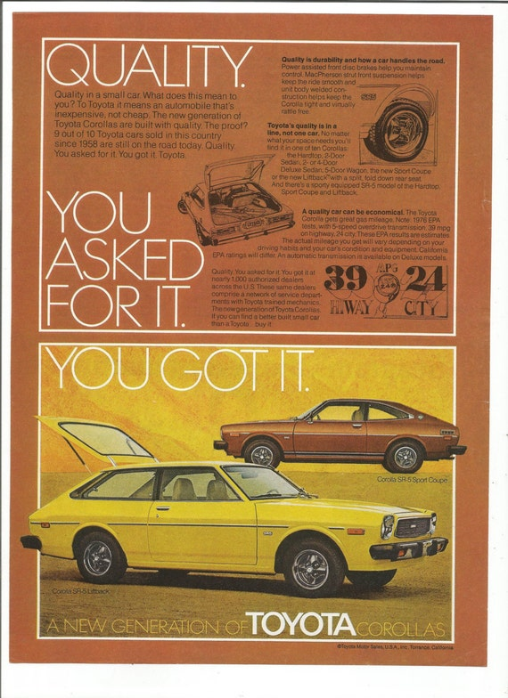 1976 Advertisement Toyota Corolla 70s 76 Hatchback Yellow Red