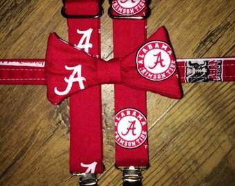 University of Alabama Boys bow tie and suspender set/Tie/toddler tie/herringbone print with Alabama logos/ Tide/