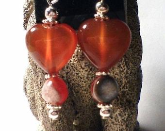 Valentine Heart Pendant, Carnelian Heart Pendant, Heart Drop, Heart Pendant, Carnelian Heart, Carnelian Heart Necklace, Carnelian Necklace