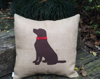 Lab pillow with black or chocolate brown lab silhouette with custom personalized collar-16x16 insert included-custom dog pillow-dog memorial