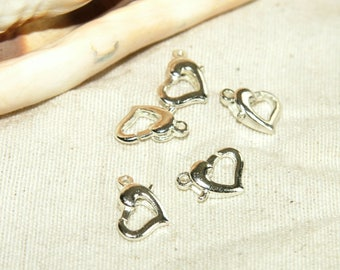 X 5 new silver heart lobster clasps!