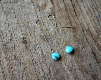 Turquoise Teardrop Stone Gold Filled Threader Earrings