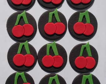 12 edible CHERRIES CHERRY CAKE cookie cupcake wedding topper decoration wedding anniversary birthday engagement valentine fruit slot machine