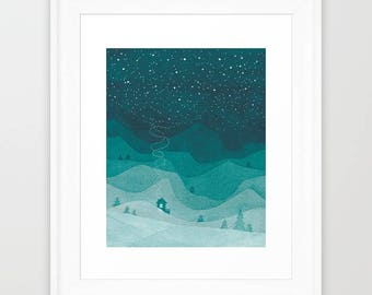 Watercolor painting giclee print mountains by night mountains art teal landscape bedroom art bedroom painting teal watercolour